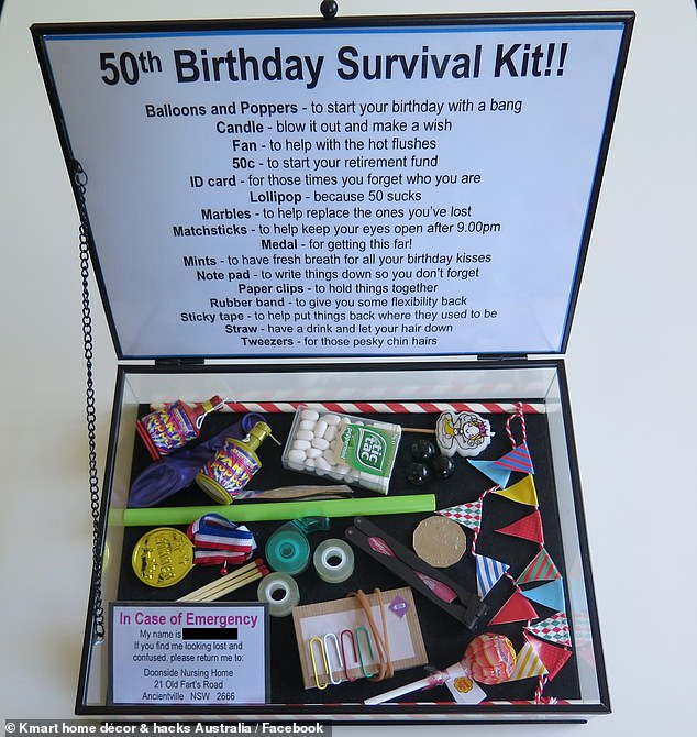 Woman gifts her friend a survival kit for her 50th birthday complete with lost marbles
