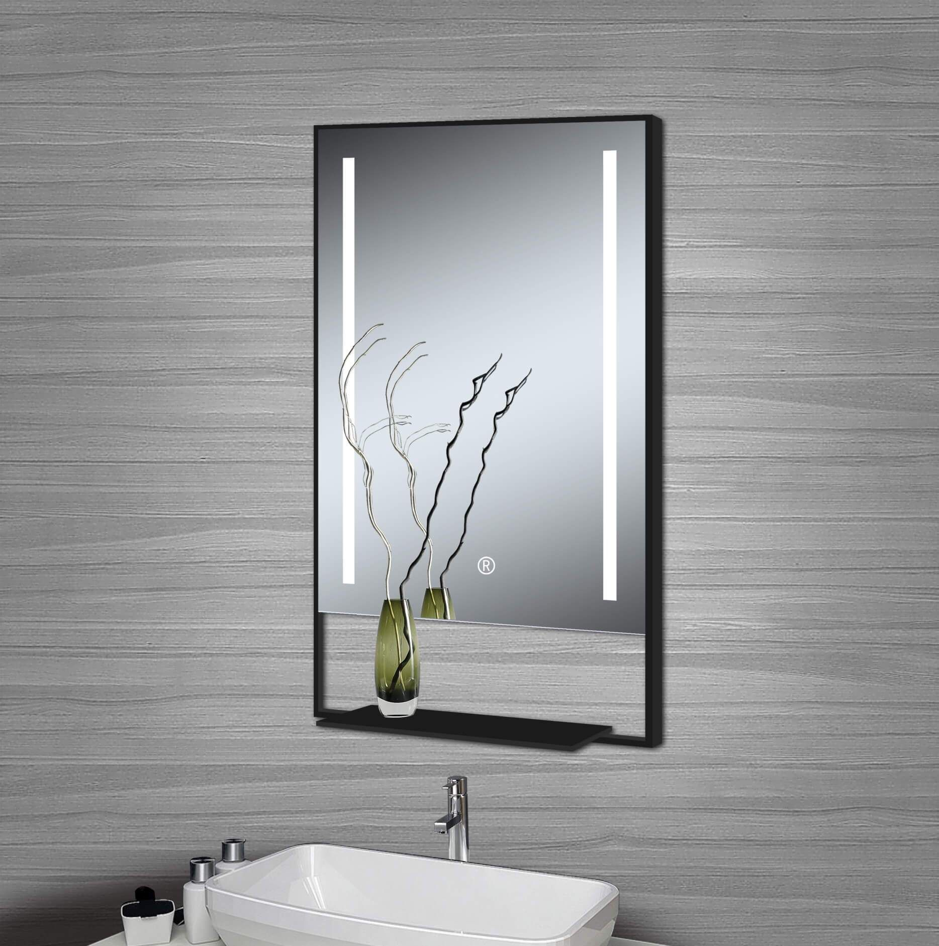 Chandel Wall Mounted 24 X32 Led Mirror With Glass Shelf Black Frame Led Mirror Bathroom Led Mirror Mirror