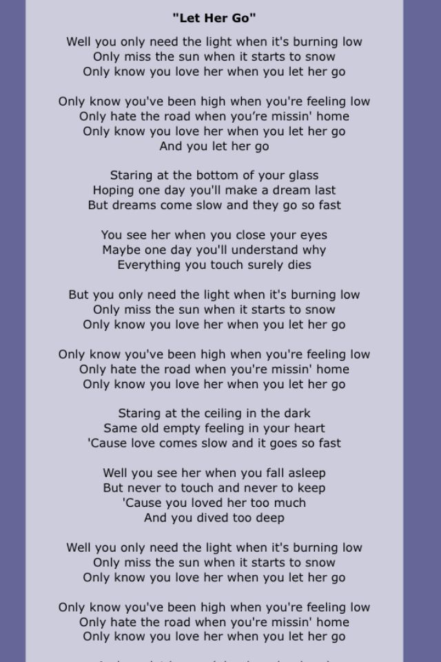 Passenger - Let her go - Lyrics