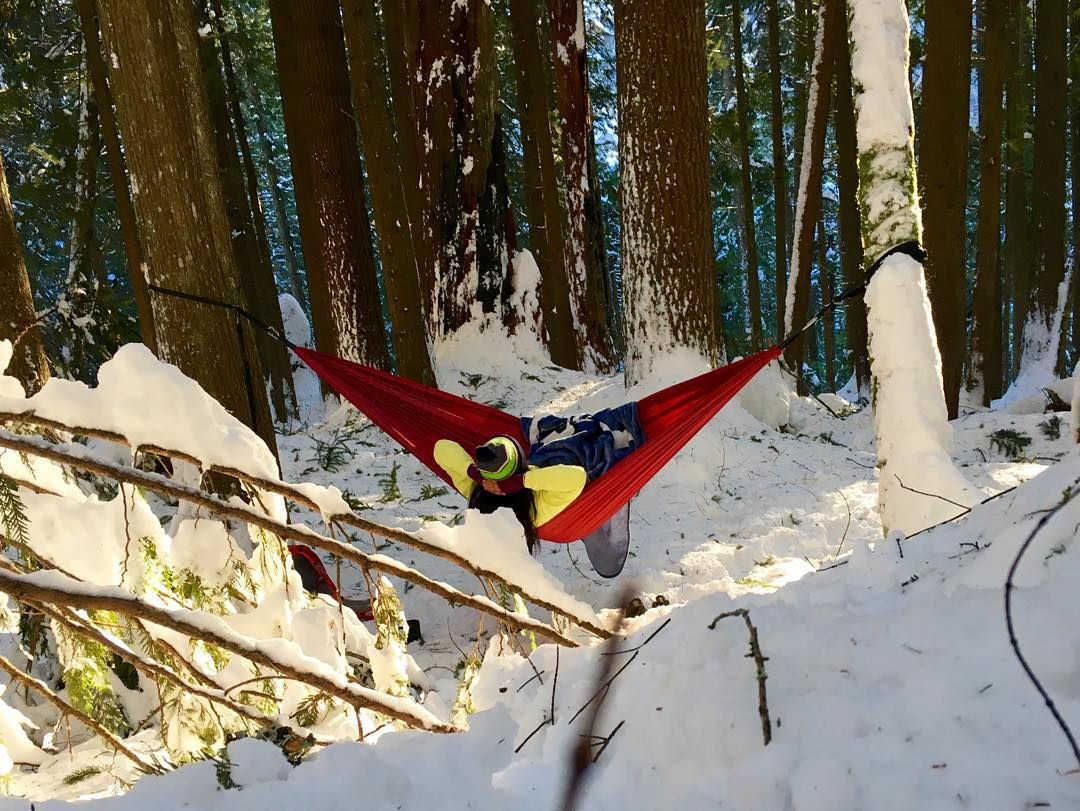 Fresh snow hot cocoa good books and cuddles. #hammocklife  PC: beb  by @doncocoa