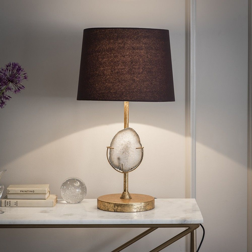 Agate Table Lamp Including Black Shade Contemporary