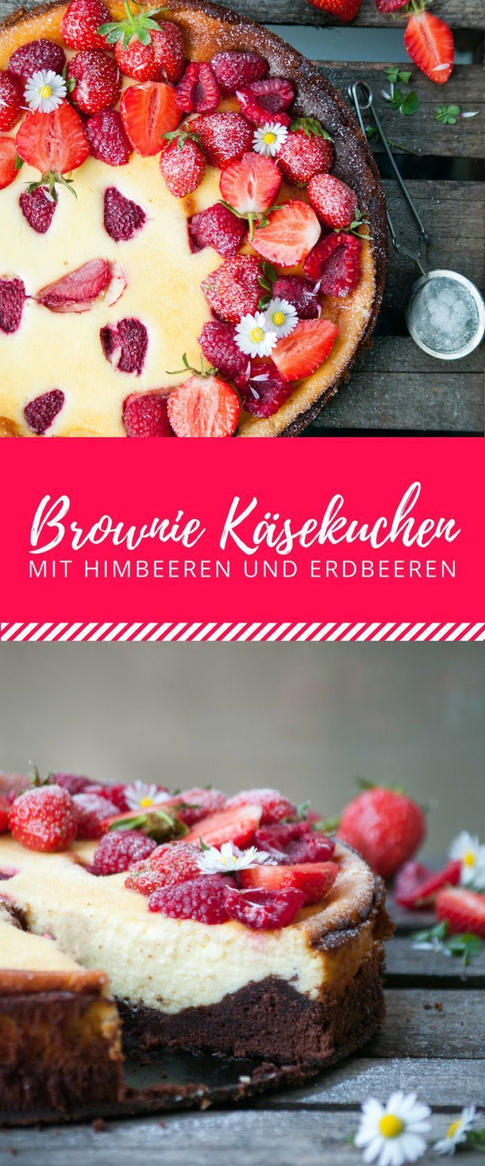 Brownie cheesecake with raspberries and strawberries - Brownies + cheesecake + fruits = very big c