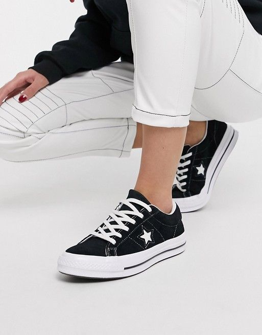 Converse One Star black suede trainers