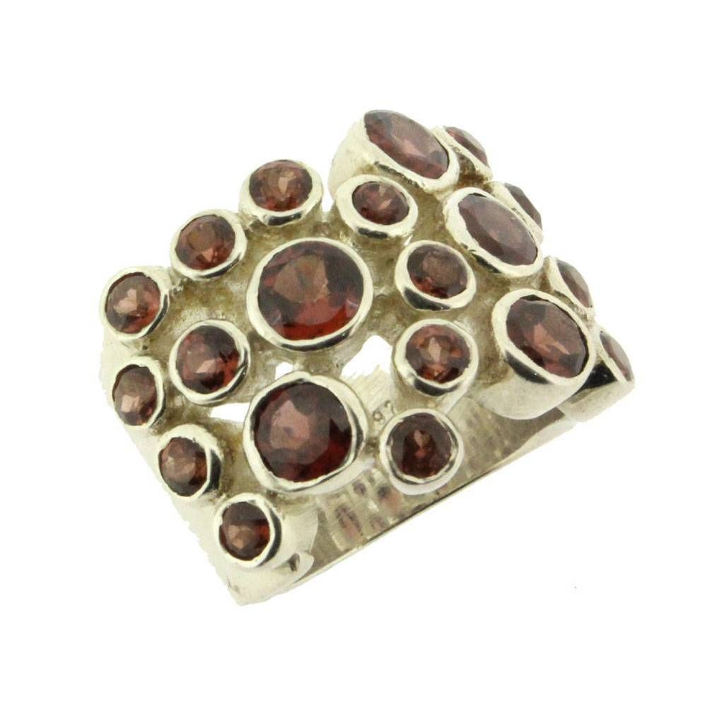 Red Faceted Garnet Ring Sterling Silver Jewelry Size 8.5 #YouniqueJewelry #Cocktail