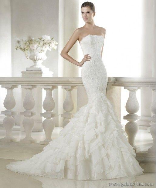 sigal, san patrick. vestido de novia de encaje, corte sirena y falda
