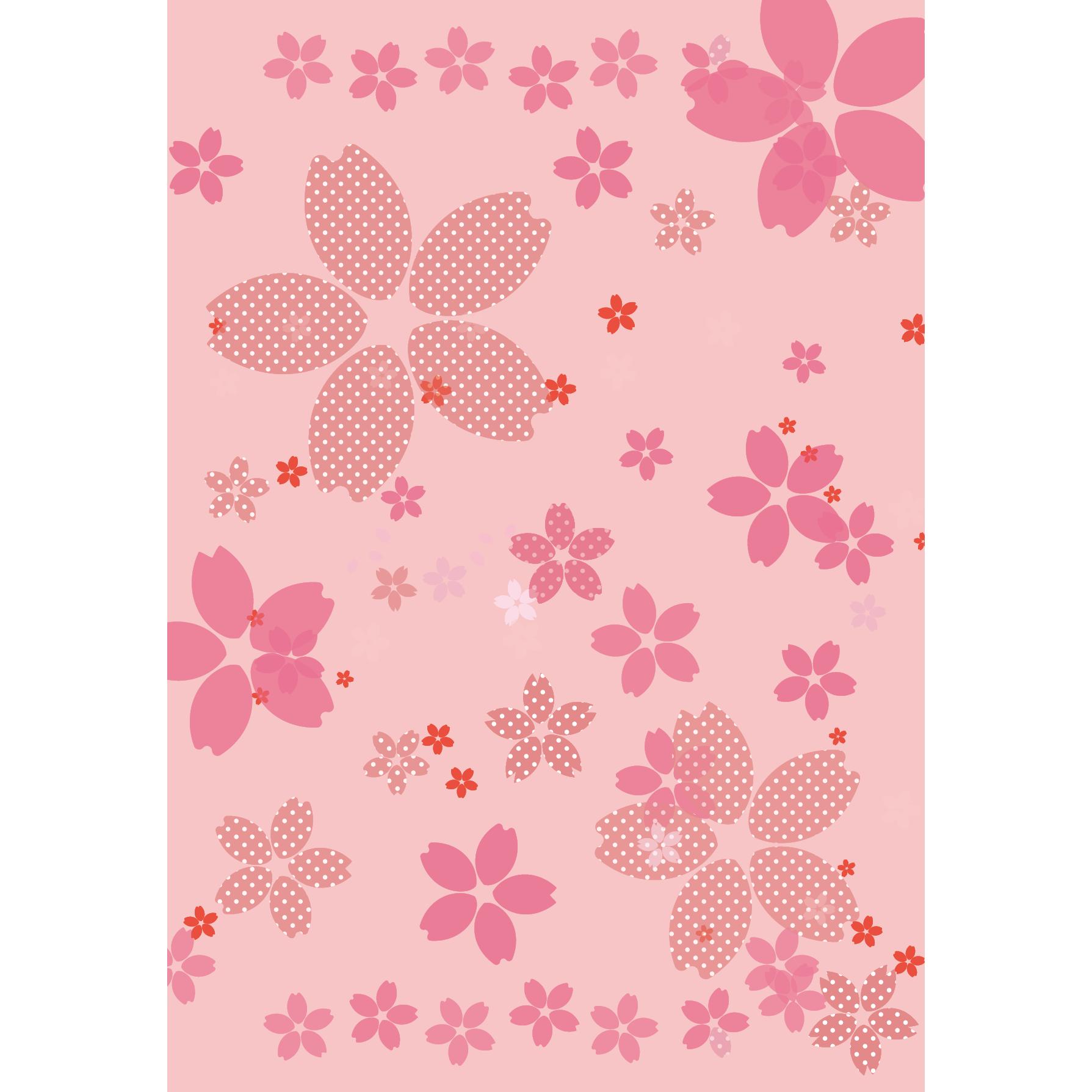 商用可 春を感じる 和風だけどかわいい 桜のイラスト 背景 A4サイズ