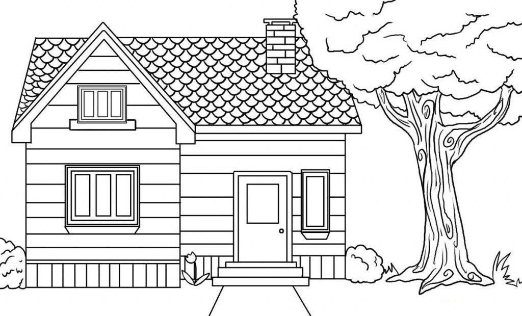 House Coloring Pages Inside House Coloring Page Funny Coloring