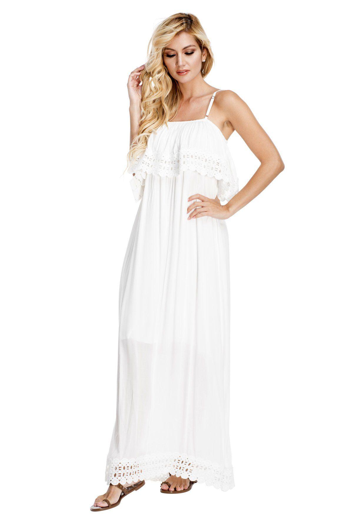 9302f5ee33a76 Designer White Maxi Resort Wear Dress in 2019   summer   Resort wear ...