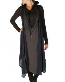 Brotherhood Slip Dress in Charcoal & Black by Nom*d
