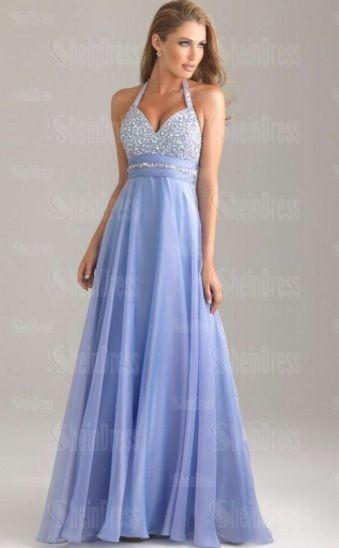 fb4b2cc6efd Periwinkle blue purple prom dress halter neck with empire waist sparkle  beaded top