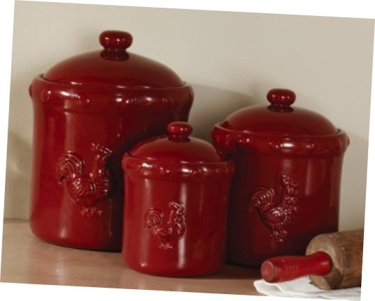Beautiful Red Kitchen Canisters With Rooster Accessories Wonderful