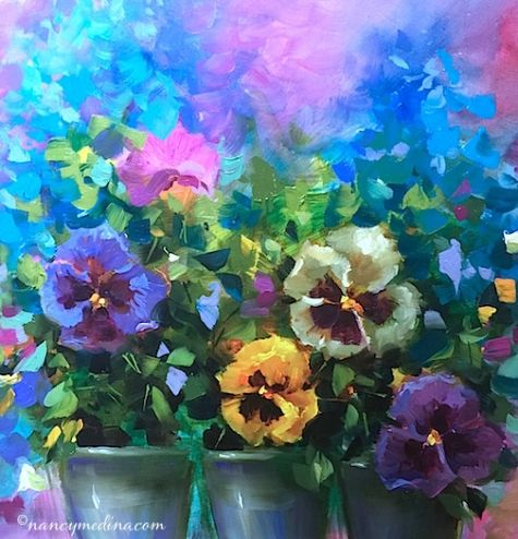 Pansy Dance - painting by artist Nancy Medina