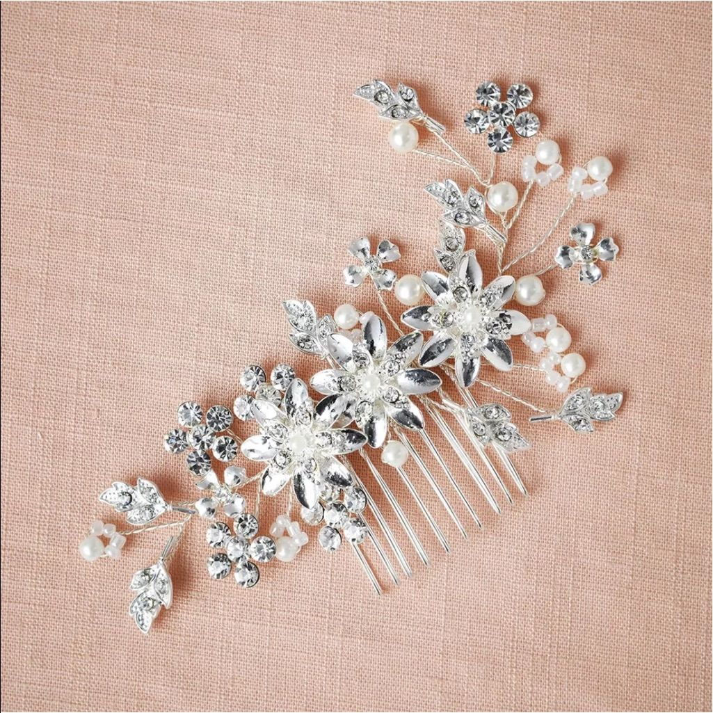 Silver Bridal Wedding Flower Pearl Hair Comb