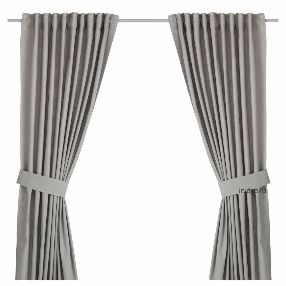 Ikea Ingert Gray Curtains 57 X 98 One Pair Cotton Flax Blend