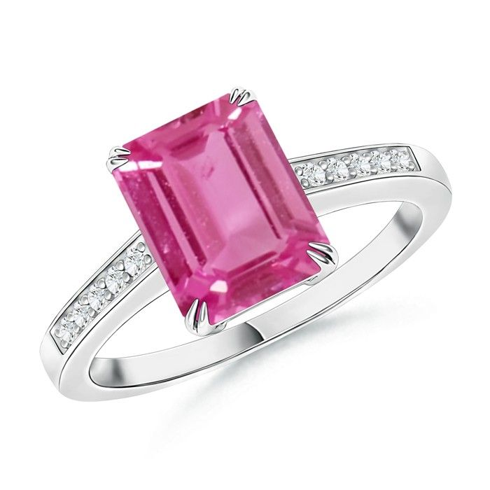 Angara Platinum Emerald-Cut Pink Sapphire Ring fpzZsR4