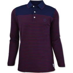 Gestreiftes Langarm-Poloshirt, Rot-Navy Carlo Colucci