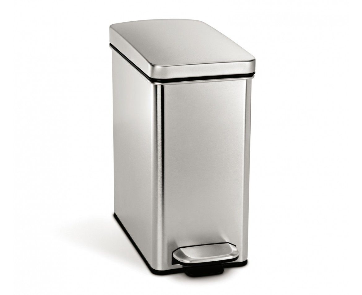10 Litre Profile Step Can Brushed Stainless Steel Kitchen Trash Cans Trash Can Stainless Steel Bathroom