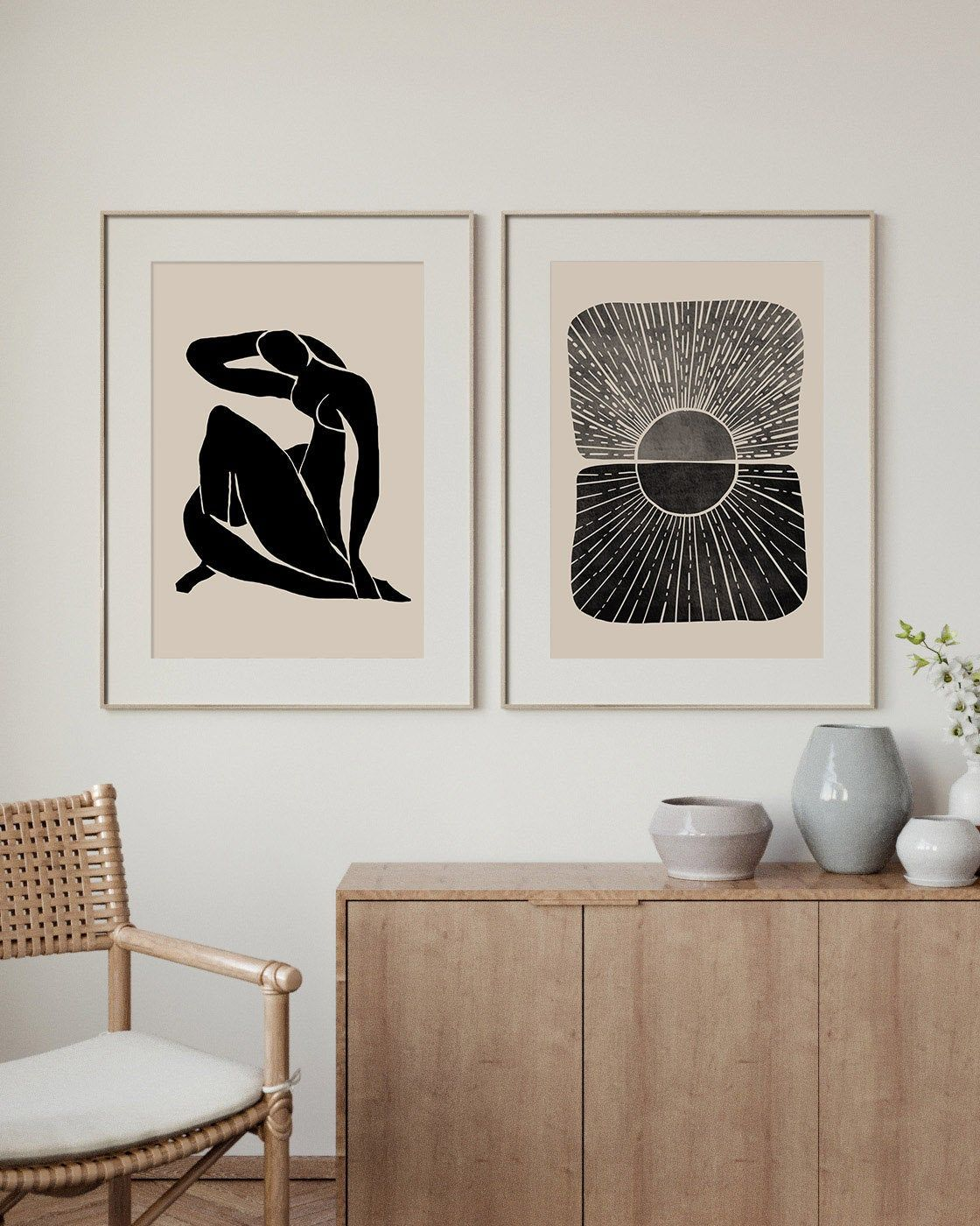 Abstract Print Home Office Decor Set Of 2 Print Living