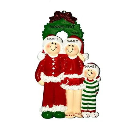 Christmas Eve Family 3 Personalised Christmas Ornament