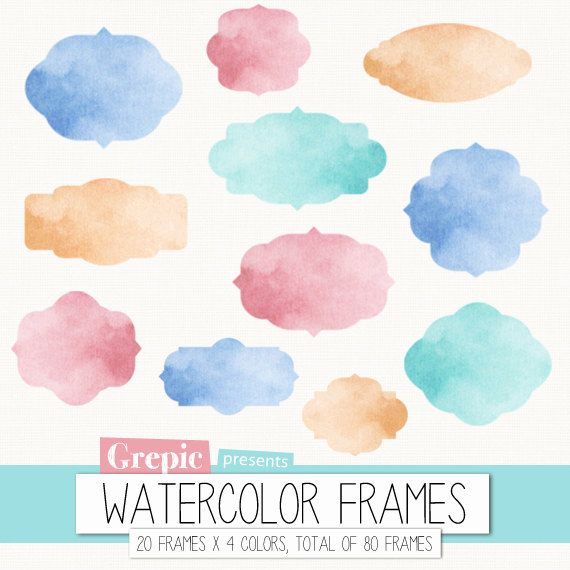 640f04148865 Watercolor frame clipart  Digital frames