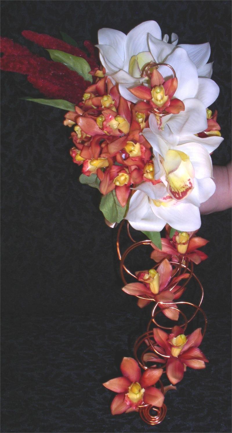 Modern Copper Cascade Wedding Bouquet Red bouquet