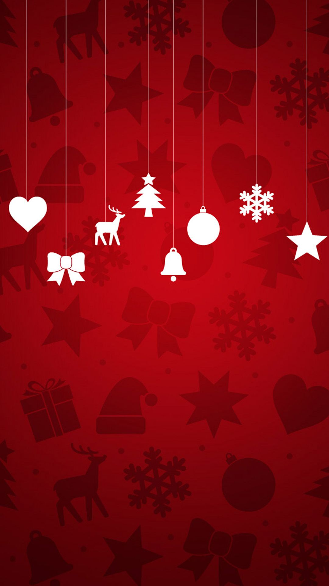 minimal christmas ornaments red background android wallpaper 1080a—1920