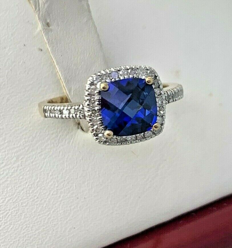Adjustable Solid 10K White Gold Ring with Blue Sapphire