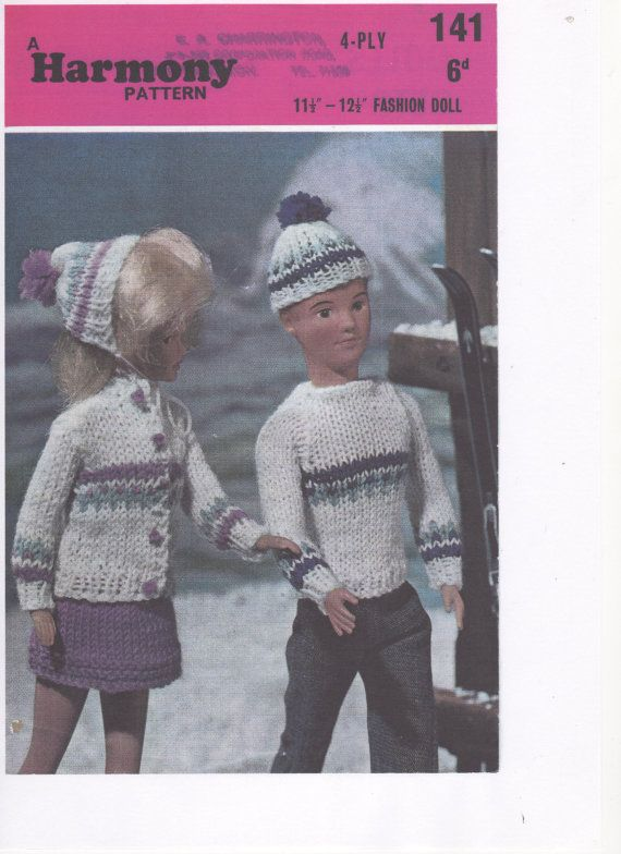 Barbie Ken Matching Ski Outfits Sindy Knitted Ski Outfit Knitted
