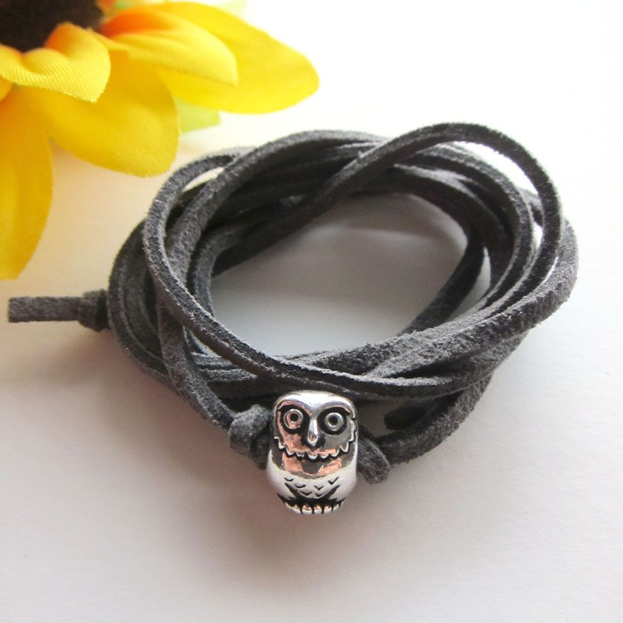 SILVER WISDOM OWL charm with suede leather cord wrap by kaang
