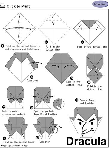 Dracula Origami - Halloween | Origami instructions, Origami ... on