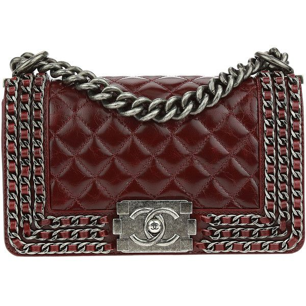 Pre Owned Chanel Burgundy Aged Calfskin Triple Chain Small Boy Bag Found On Polyvore Featuring