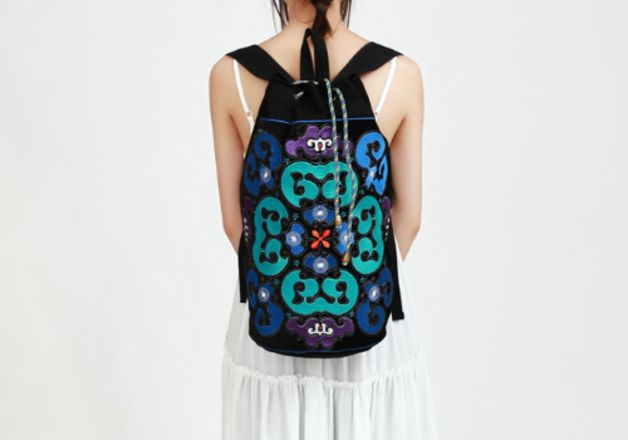 Chinese Traditional Embroidery Canvas Backpack