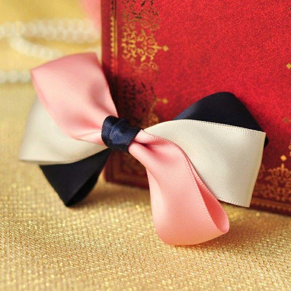Pink, cream, navy bow hairclip