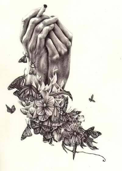 Sketches of flowers and butterflies butterfly for Amazing hand drawings