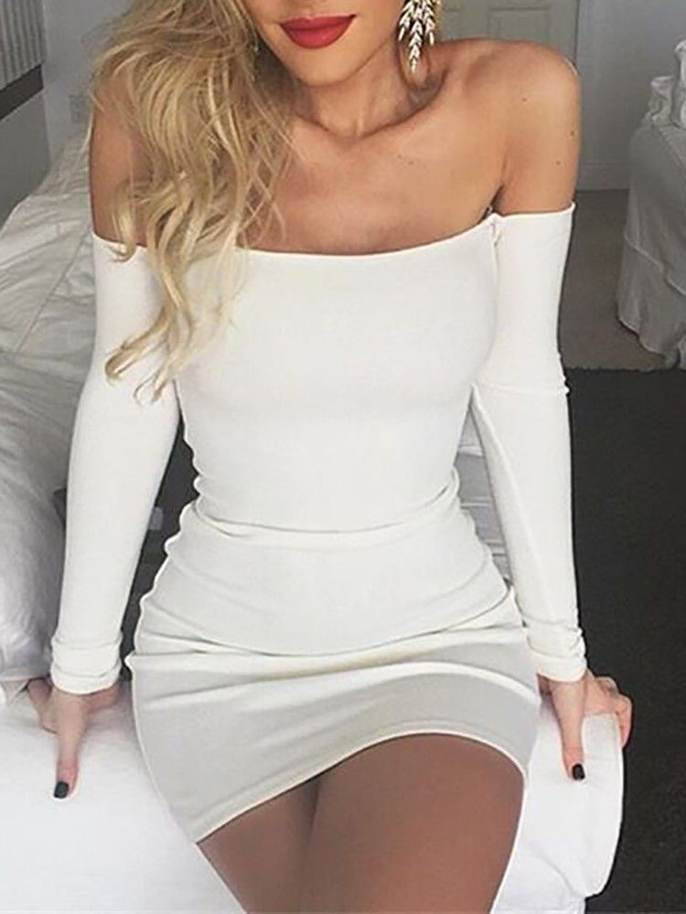 50a16cfcc2b Sexy White Off Shoulder Bodycon Mini Dress | Stuff to Buy | Dresses ...