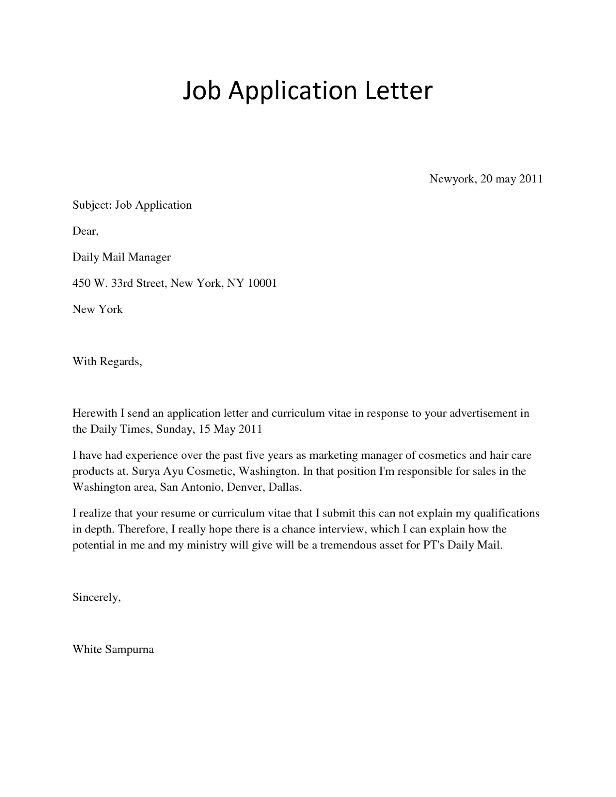 job application letter sample 9 in 2020 Simple job