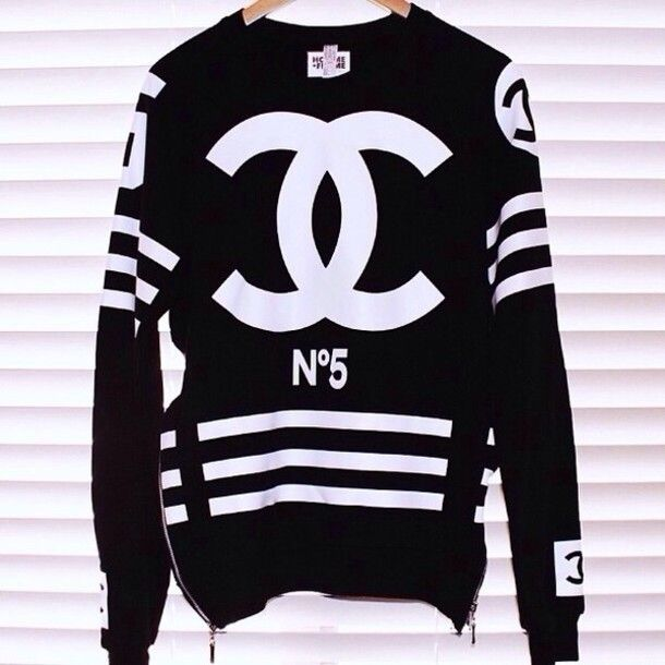shirt chanel black white long sleeves stripes cc shirt coco www ...