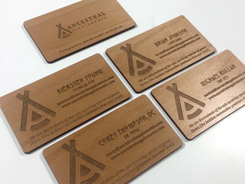 Laser Engraved Business Cards On Wood Metal Plastic Starting At 1 30 Wood Business Cards Laser Engraved Business Cards Wooden Business Card