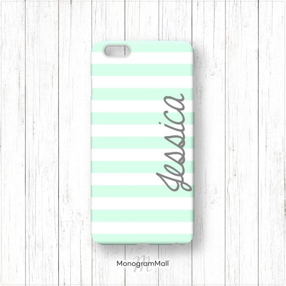 Personalized iPhone 6 case, 6+, 5, 5s, 5c, 4, 4s, Galaxy, s5, s4, s3, 3d, case, stripes, mint, grey, monogram, monogrammed, custom