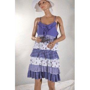 robe a volants bleu et blanc 42/44 #Blanche Porte #vetement occasion femme  #videdressing