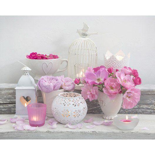 Toile Led Fleurs Et Bougies 30x30 Cm Tableau Toile Led