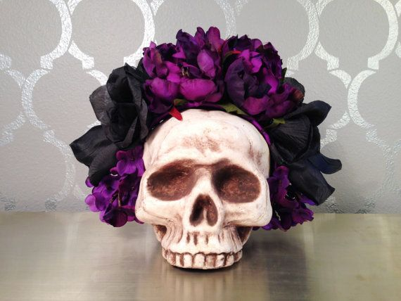 Purple and Black FLOWER CROWN Flower by LaCatrinaDeSanDiego  0c9ec3a6c27