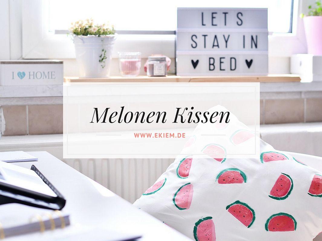 Diy Melonen Kissen Mit Kartoffeldruck Kartoffeldruck Melonen