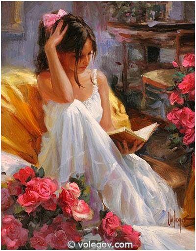 romantic oil paintings of women | As leitoras românticas de Vladimir Volegov / Romantic paintings of ...