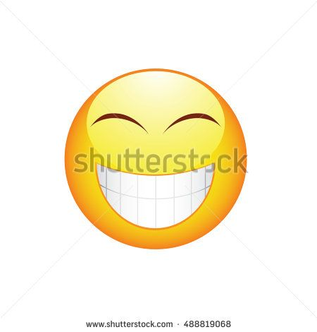 Smile emoticon with big teeth and rosy cheeks  Vector illustration