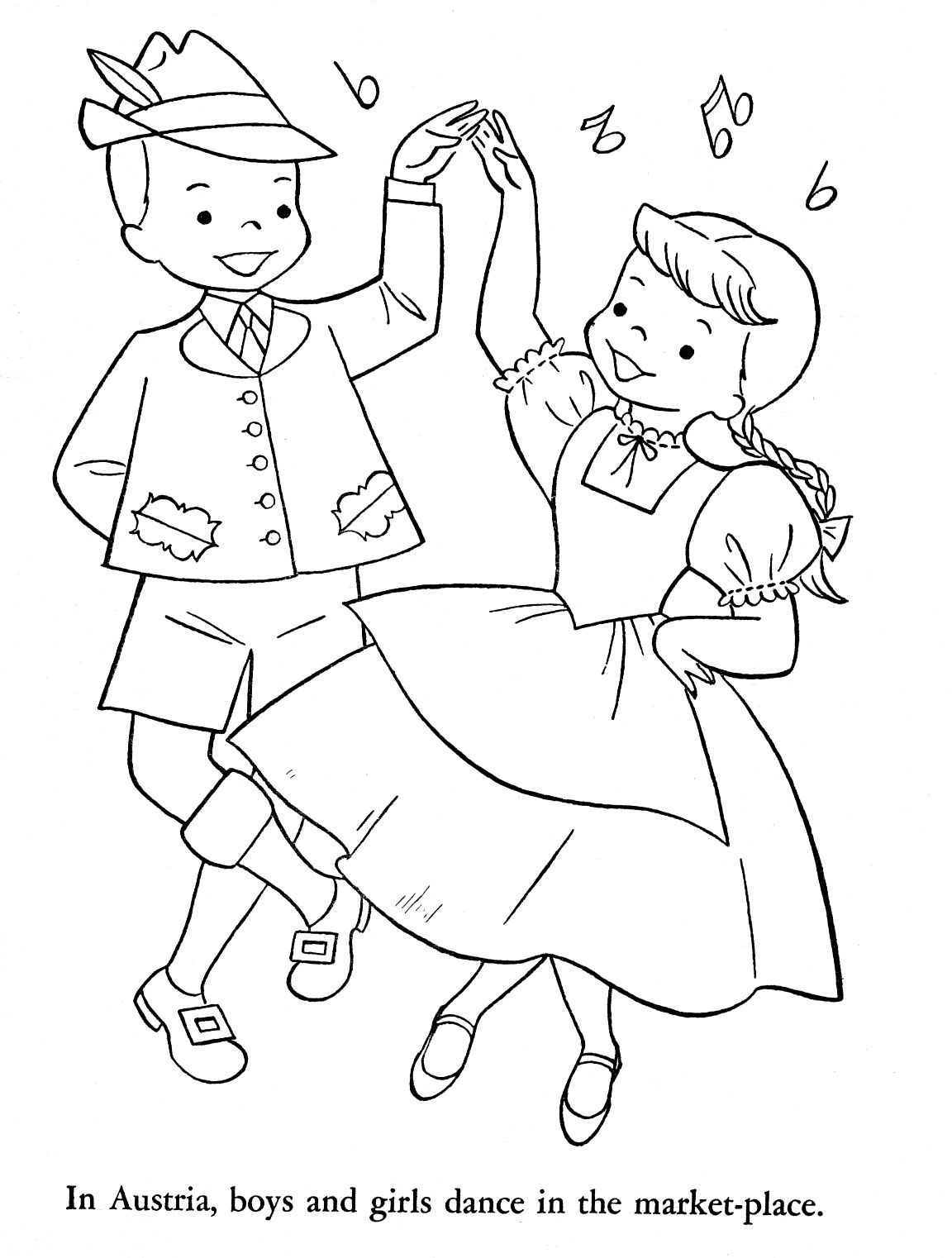 Austria Boy And Girl Dancing DancingColoring PagesColouringColoring