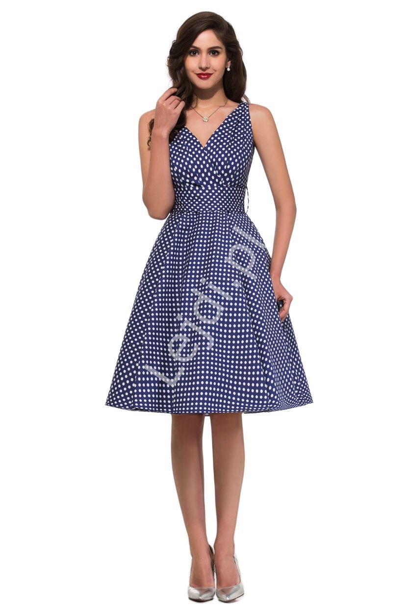 4eb174f5ed Granatowa rozkloszowana sukienka w kropki