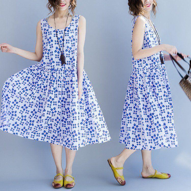 Women summer cotton vest dress