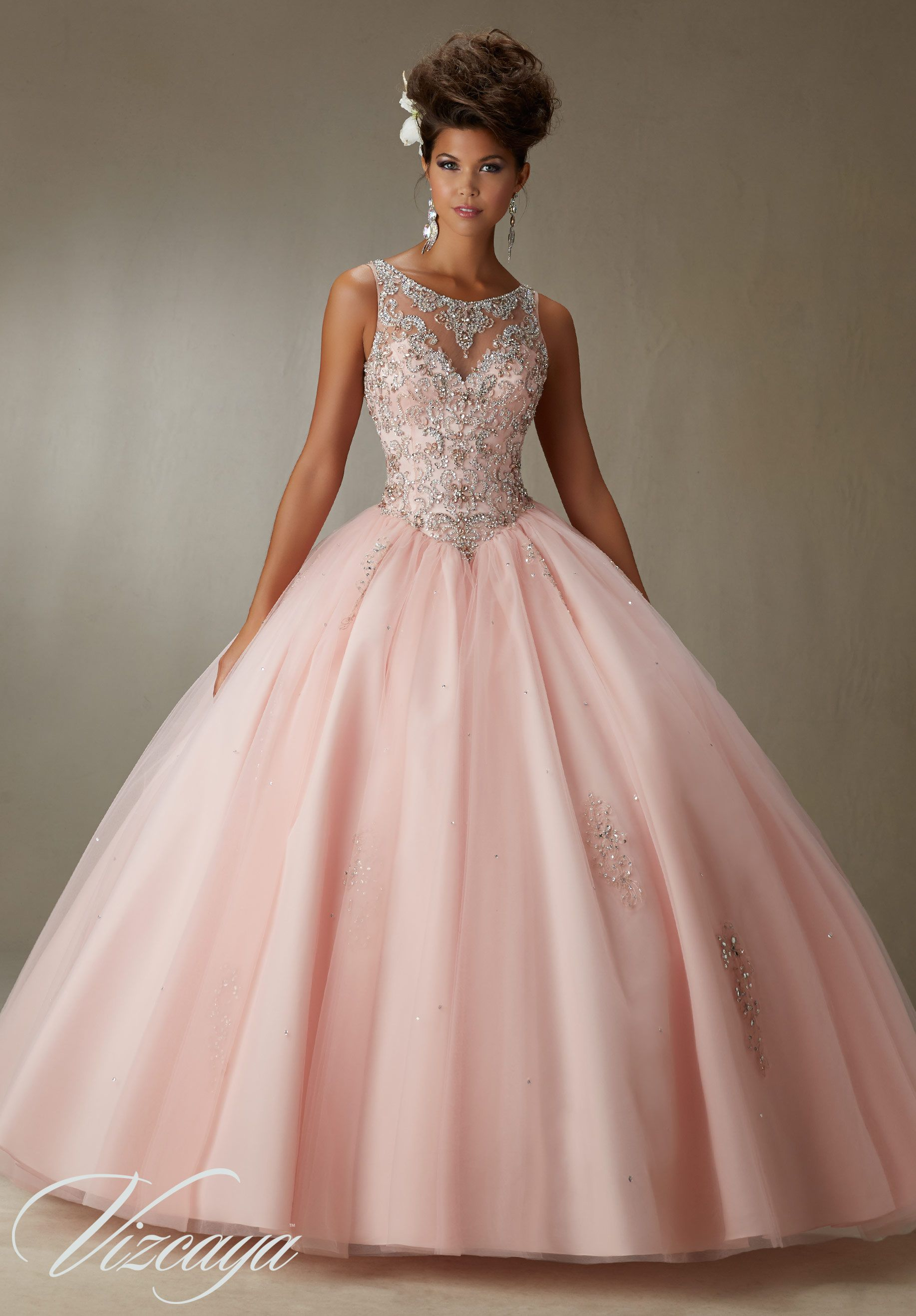 Quinceanera Dress 89067 Embroidery and Beading on a Tulle Ball Gown ...