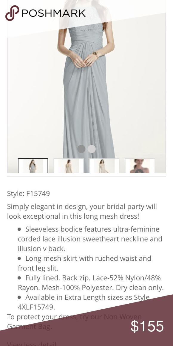 b8bfeed4a9a Brand new size 6 grey davids bridal dress Brand new still in the plastic  size 6 grey davids bridal bridesmaid dress. It will not get used due to  deployment ...